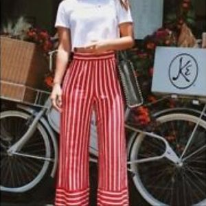 Zara Red and White Trousers